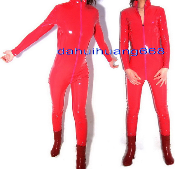 Unisex Red PVC Body Suit Costumes New Shiny Red PVC Suit Catsuit Costumes Unisex Sexy PVC Bodysuit leotard Costumes Front Long Zipper DH185