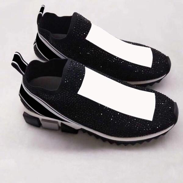 2018 I più nuovi Sneakers Scarpe Moda Argento cristalli lettere Donne e uomini calzino scarpe strass giallo con scatola Big Size 35-46