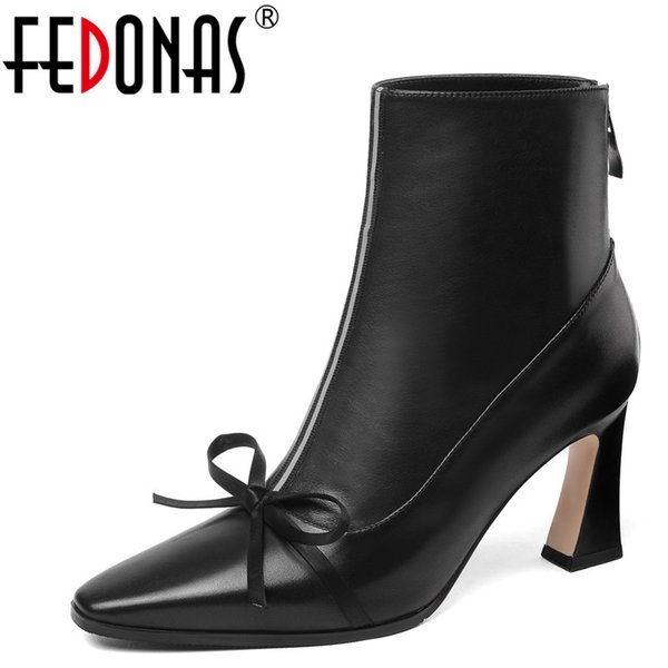 FEDONAS1Fashion Women Ankle Boots Genuine Leather High Heels Shoes Woman Square Toe Party Wedding Autumn Winter Warm Basic Boots