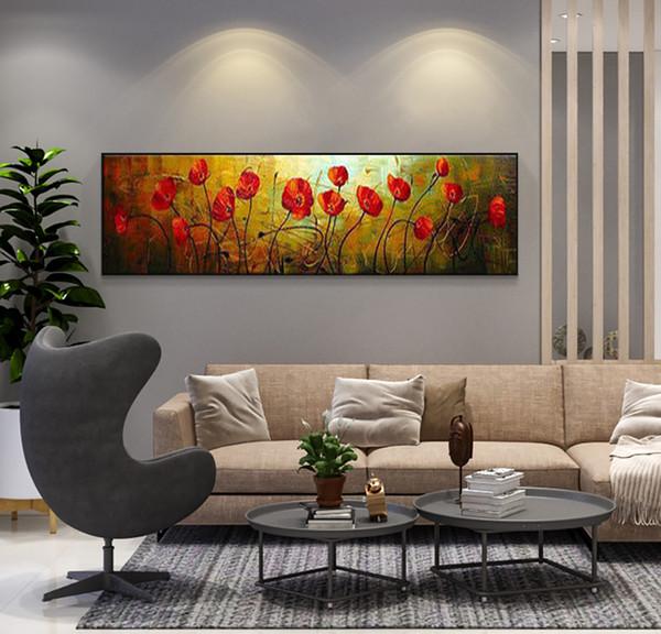 Acheter Abstrait Moderne Grand Art De Mur Unique Coquelicot Rouge Peint à La Main Peinture à L Huile Kanvas Tableau Toile Image Pour Salon Fleur De