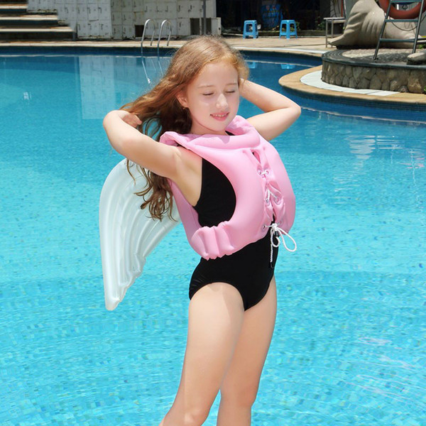 Inflatable Life Vest Angel Wings Adjustable Baby Swimsuit Pool Float Piscine Life buoy For Child Swimming Drifting Kids Jacket