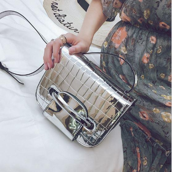 Silver metallic stone pattern cross body bag, vogue handbag, European fashionable shoulder bag, characteristic lady bag for elegant life