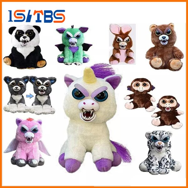 16types Feisty Pets One second Change face Animals 20CM 8 Inch Plush toys cartoon TY monkey bear unicorn Stuffed Animals baby Christmas gift