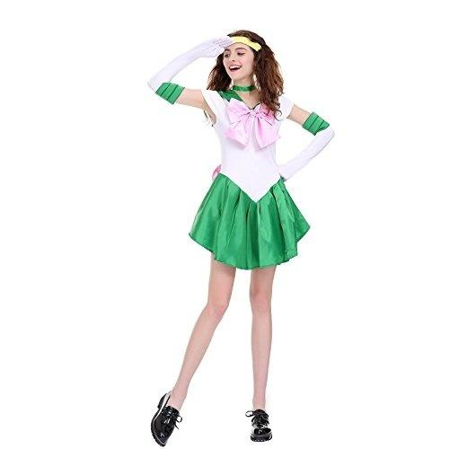 Womens Color Block Bowknots Kostüm Kleid Grün Cosplay Kostüm