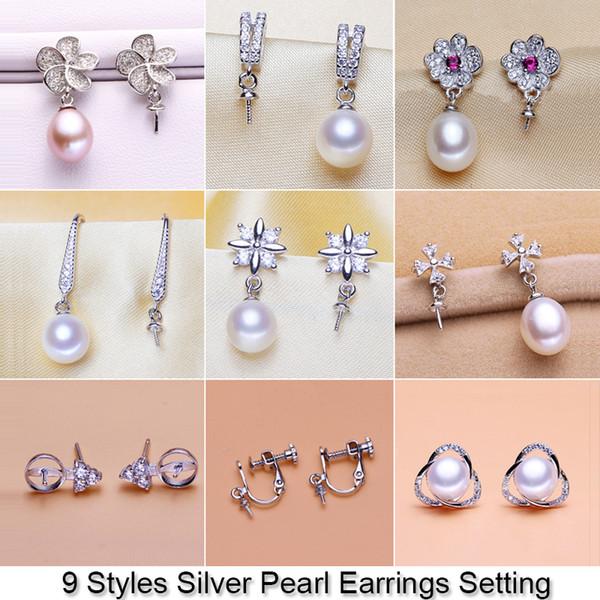 best selling Shiny Pearl Earring Setting Zircon & Silver Earrings Setting Pearl Stud Earring Mounting Earring Blank DIY Jewelry DIY Gift 18pcs lot