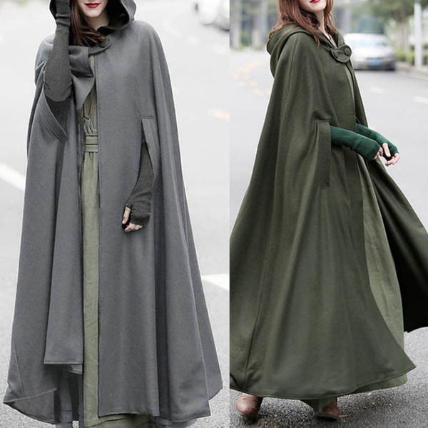 Women Oversized Hooded Coat Retro Irregular Open Front Long Cardigan 2018 Autumn Winter Button Trench Poncho Cape Overcoat Cloak