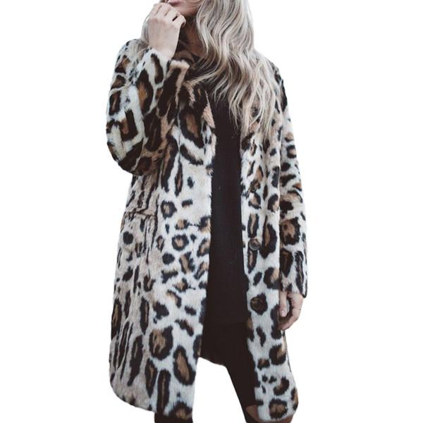 Женская С Длинным Рукавом Леопарда Печати Кнопка Мода Пальто Кардиган С Карманами Зима Теплая Пальто Женщин 2018 Мода Плюс Размер