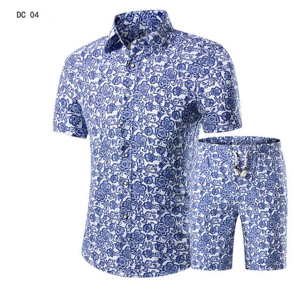 Erkekler Gömlek + Şort Set Yeni Yaz Rahat Baskılı Hawai Gömlek Homme Kısa Erkek Takım Elbise Setleri Artı Boyutu 5XL