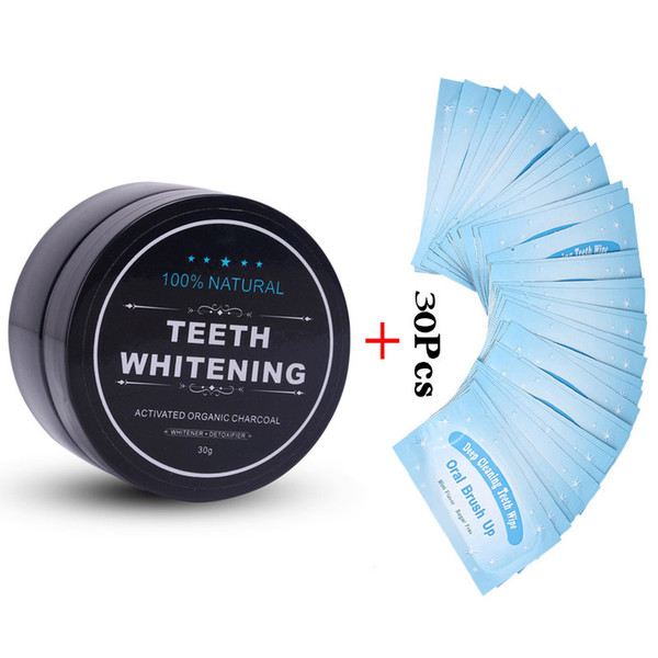 best selling Nature Activated Charcoal Powder Decontamination Tooth Yellow Stain Oral TeethCare 30g with 30Pcs Teeth Whitening Wipes Oral Whitening