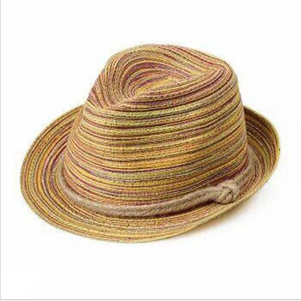 Autumn Stingy Brim Hats Colorful Pattern Parachute Rope Straw Hat Leisure Lash Bohemia Style Strawhat Cap With Rainbow 7ad jj
