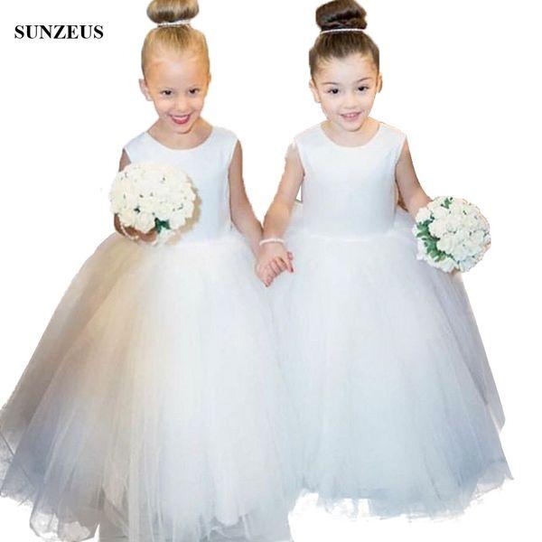 Simple Ivory Ball Gown Flower Girl Dress Floor Length Long Tulle Chidren Wedding Party Dress Kids Formal Wear