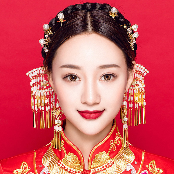 Handmade Simulated Pearls Side Combs Tassel Step Shakes Ancient Chinese Style Wedding Hair Jewelry Set with Hook Earrings Gifts