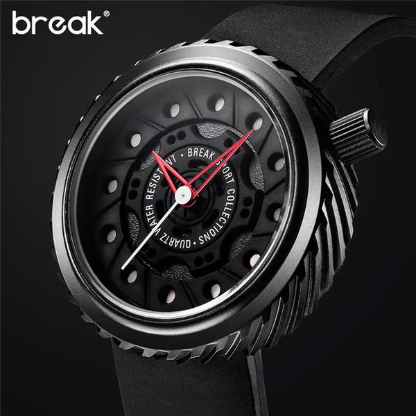 Break herrenuhren top-marke luxus sportuhr japan miyota silikonband uhr männer quarz uhren casual kreative armbanduhr