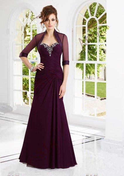 Elegant long plus size mother of the bride dresses with jacket crystal beaded chiffon wedding party gowns abendkleider 2018