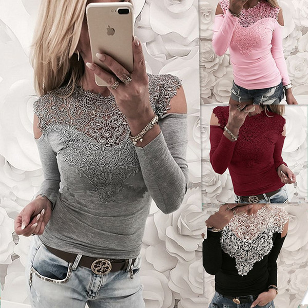 NC Women Long Sleeve T-Shirts Lace Hollow Out Lace Panelled Crew Neck Shirts Female Fashion Cotton Blend Tops & Tees Clothing