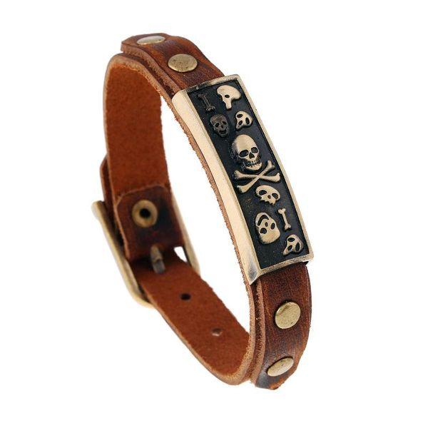 Hot Selling Vintage Europe Model Skull Bracelet With Genuine Leather Hand Band Mens Wristband