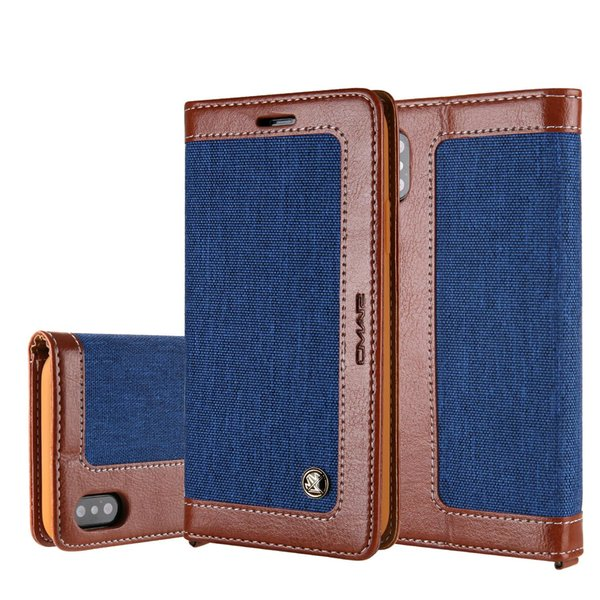 For Apple iPhone X Brand Case Luxury PU Leather Canvas Flip Cover for iPhone X Case wih Stand Caer Holder Wallet Coque