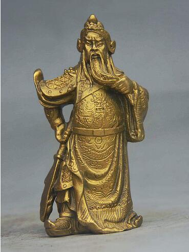 China Folk Brass Dragon Warrior Guangong GuanYu Hold Broadsword Statue Figurine