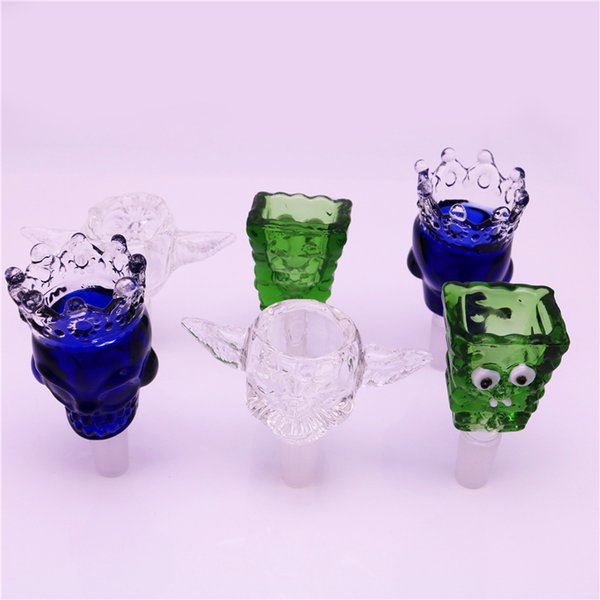 Skull Glass bong Bowls With Blue Green clear 18mm 14mm Herb Slide tobacco bowl piece bong For Oil Rigs Glass Bongs