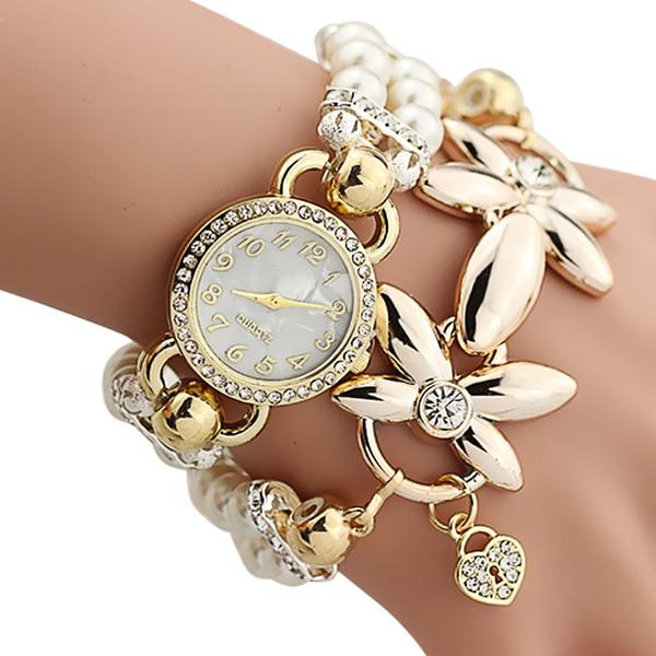 Bracelet Watch Women Ladies Fashion Quartz-watch Female Clock Flower Imitation Pearl Chain Wrist Watches Quartz 88@8