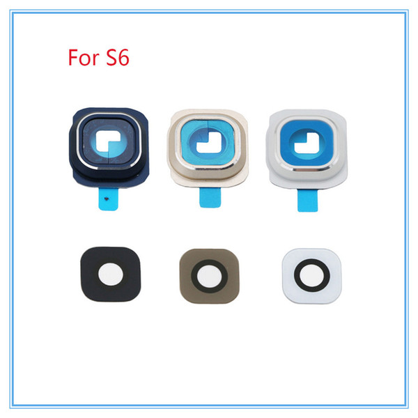 10sets/lot For Samsung Galaxy S6 S6 edge Camera lens Rear Camera Frame + Glass Full Set Cover Circle Ring with Adhesive sticker
