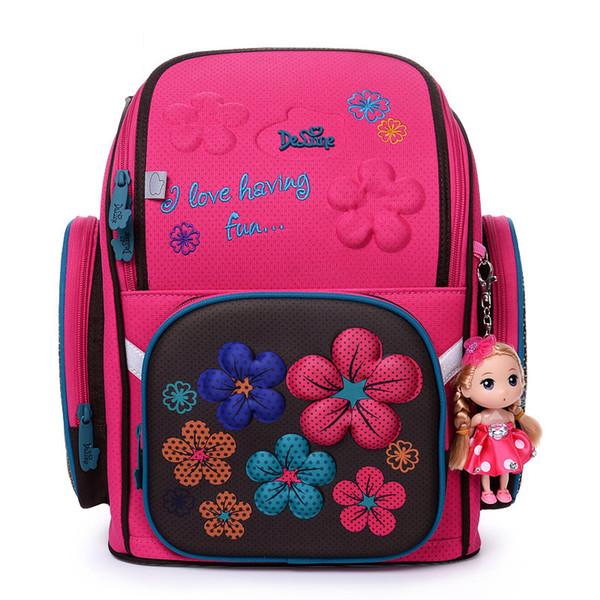 2017 Delune School Bag Backpack For Girls Cartoon Backpacks 3D Bear Owl Floral Pattern Children Orthopedic Mochila Escolar Bags Y18110107