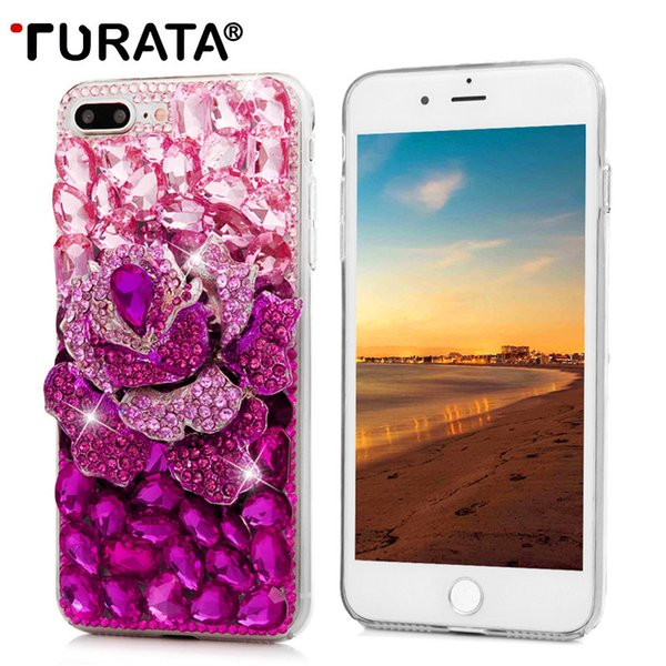wholesale Cover For iPhone 7 Plus Handmade Crystal 3D Diamond Back Cases Glitter Bling Rhinestone Hard Phone Case For iPhone 7 Plus