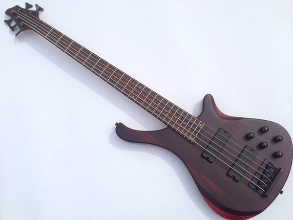 Top qualité GYBS-9008 Sapele corps érable + incrustation de bois de rose 5 cordes micro actif bonne guitare basse, être personnalisé, livraison gratuite