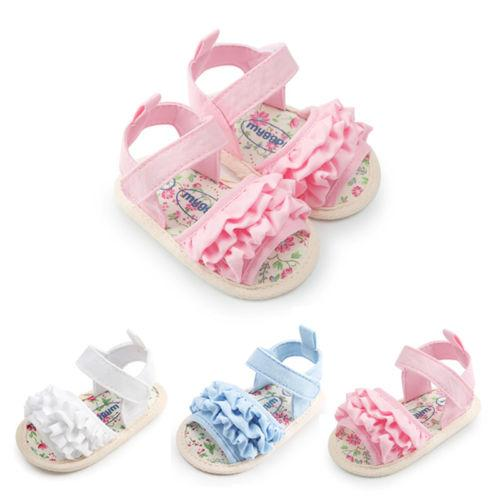 Lovely Baby Girl Sandals Shoes Canvas Flower Baby Toddler Princess First Walkers Summer White Blue Girls Sandals