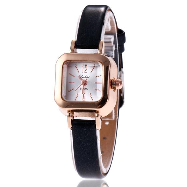 Ladies, students, small dial, fine belt, retro-goossen female line, Korean belt temperament, simple quartz square fashion watch