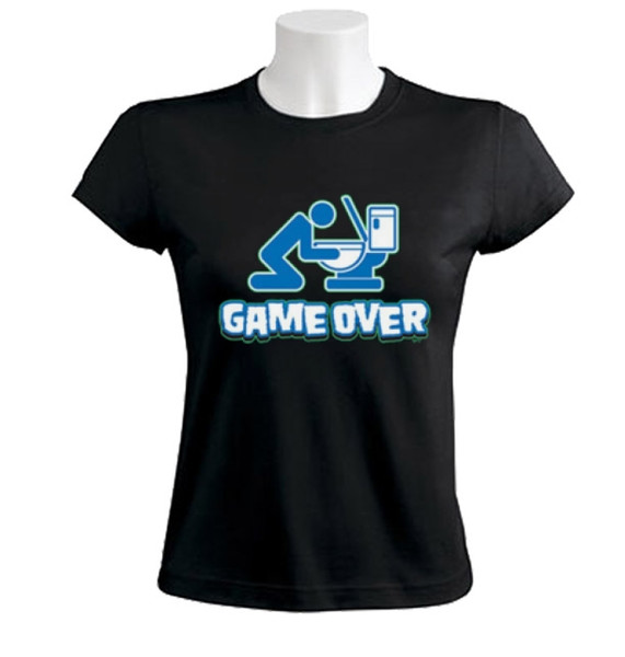 Women's Tee Game Over Toilet Women T-shirt Drunk Drinking Beer Funny Wc Funny Brand Short T Shirt Letter Printing Middle Aged Top Tee