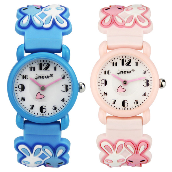 Kid Watch 3D Cartoon rabbit 30mm waterproof Lovely Kids Girls Boys Children Students Quartz Wrist Watch Very Popular Wristwatc Sports Clock