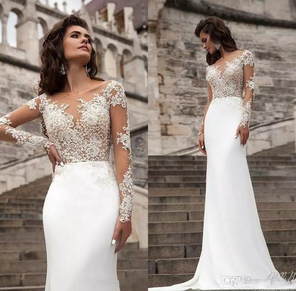 Vestidos de novia de encaje mangas largas transparentes baratas 2017 Milla Nova Beach Una línea de tren de botón Botón de nuevo vestido de novia bohemio vestidos de novia