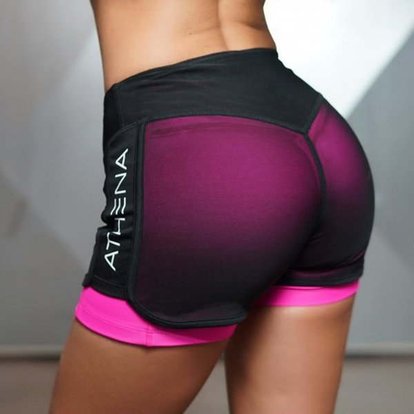 Cardio Training Women's Shorts Pink Mid Waist Workout Colorful Shorts Fitness Breathable Gym Clothes Short Tight Underneath