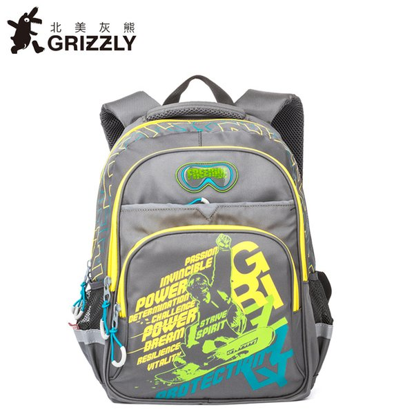GRIZZLY Cartoon Printing Children Schoolbag for Boys Backpacks Orthopedic Zipper Primary School Bags for Grade 1-6 Kids Book Bag