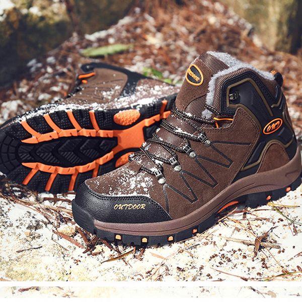 YIQITAZER Hombres Botines de cuero de gamuza Cálido Botas de invierno Hombres al aire libre Botas de nieve ligero antideslizante Moda Zapatos de escalada de invierno