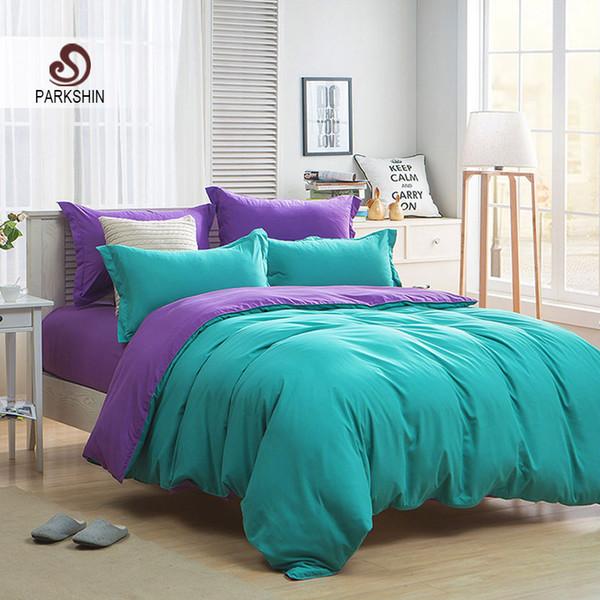Parkshin Green And Purple Solid Color Bedding Set Plain Double Duvet Cover Set Soft Polyester Flat Sheet Bedclothes