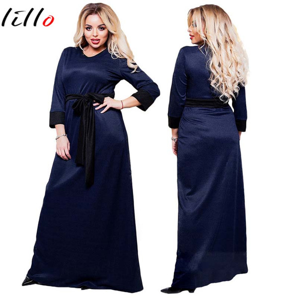 Dark blue fashion plus size solid color dress 7 points sleeve long dress send belt round neck and put comfort fabric