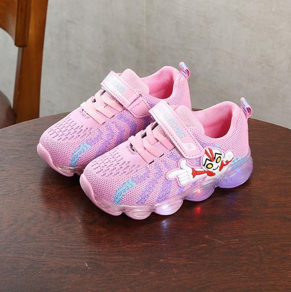 Children's Sports Shoes Best-selling New Boy and Girl Cartoon Fashion Flash 2 Color Size 22-30 Sports Single Shoes