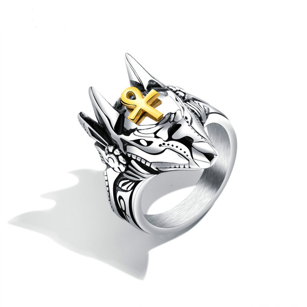 Punk Anubis Egyptian Cross Beast Ring For Men Stainless Steel Ankh Cross Design Animal Finger Rings Cool Jewelry Gift GJ626