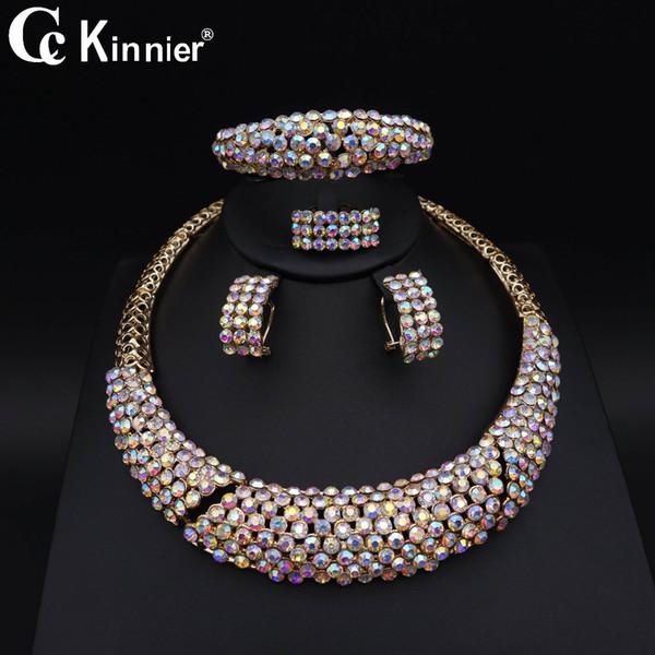 La joyería nupcial de la boda de Dubai nueva fija el color del traje de la manera Imitado los pendientes cristalinos del collar de las gotas del sistema de la joyería del partido africano