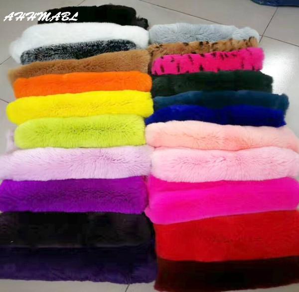 Großhandel PrReal Kaninchenfell 40x24 cm DIY Schals Hut Pompom Mantel Decke Kissen Nähen Material Flauschigen Weichen Echten Pelz R16
