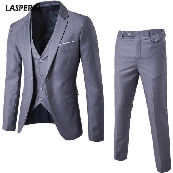 LASPERAL 3 Parça Setleri erkek Iş Elbisesi Takım Elbise + Yelek + Pantolon Yelek Setleri Ince Marka Erkek Takım Elbise Düğün Blazers Ceket