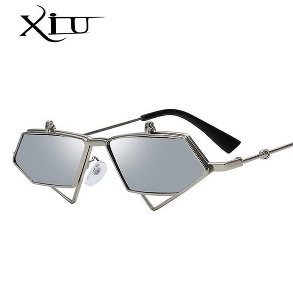 XIU 2018 New Irregular Curve Metal Frame Retro Sunglasses Women Brand Designer Punk Glasses Men Sunglasses UV400