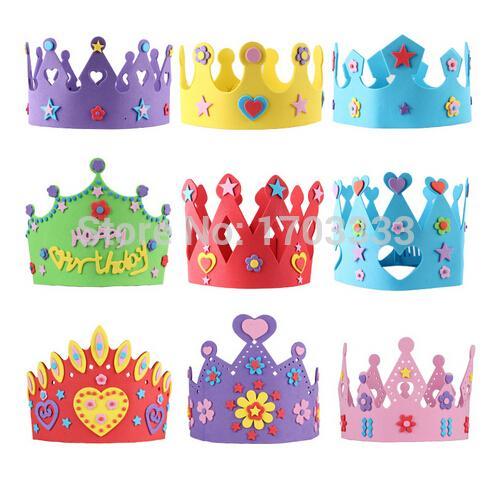200PCS EVA Foam Birthday Crown for Children Birthday Party Caps Self-adhesive DIY Handmade 3D Eva Crown Hat Craft Kits