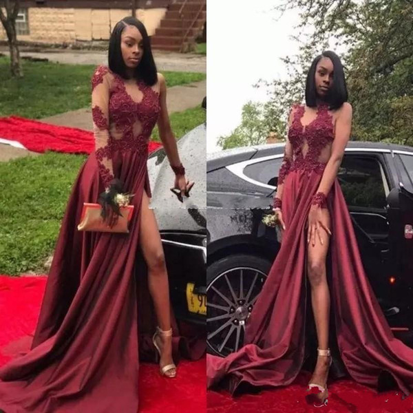 2018 Arabic Burgundy Sexy Thigh-High Slit Prom Dresses Long Sleeves Black Girls Jewel Lace Appliques Long Evening Party Gowns Custom Made