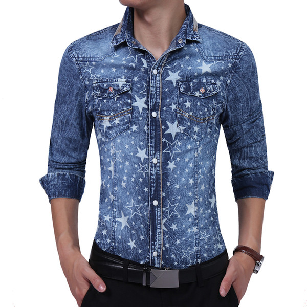 Brand 2017 Fashion Male Shirt Long-Sleeves High Quality Five - Star Prints Denim Shirt Mens Dress Shirts Slim Men XXL
