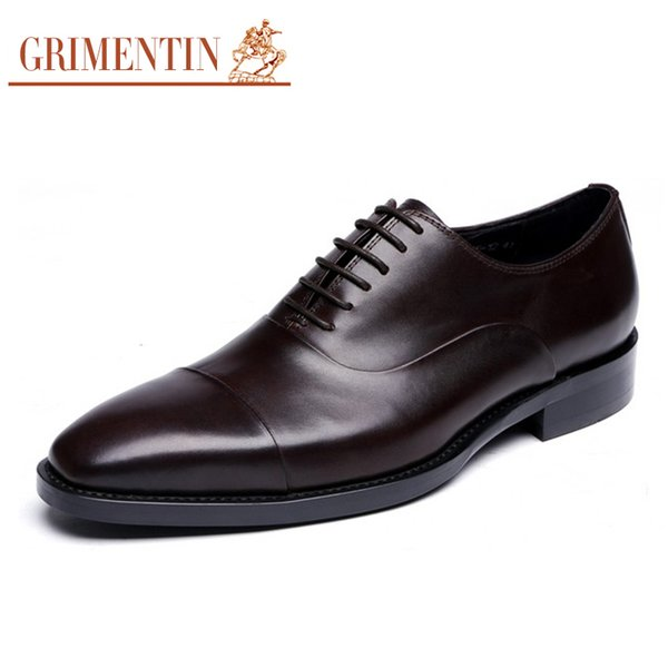 GRIMENTIN 2018 Newest Hot sale genuine leather dress mens oxfords shoes black brown formal business male shoes size:38-45 OX29
