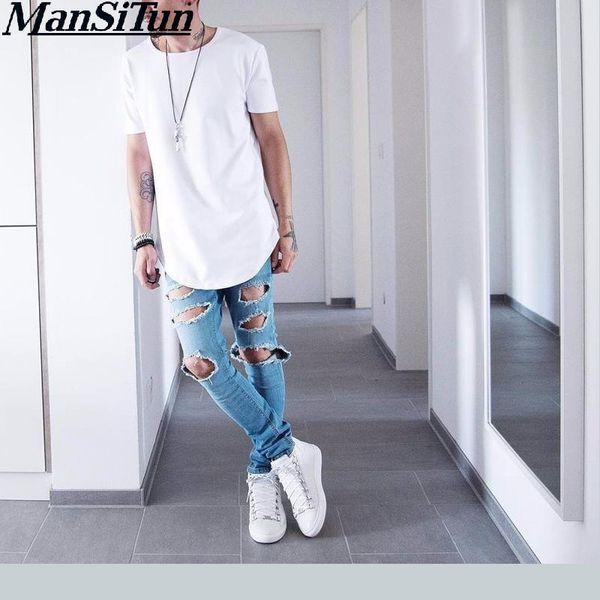Man Si Tun 2017 Summer Men Short Sleeve Extended Hip Hop T Shirt Oversized Kpop Swag Clothes Men 'S Casual Kanye West T Shirt