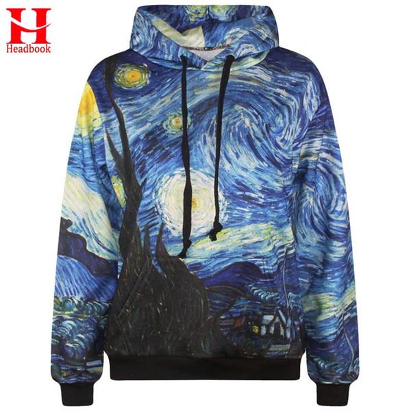 2017 Headbook Starry Night men's 3d sweatshirt fashion print Van Gogh oil painting hooded hoodies tracksuits hoody with pockets